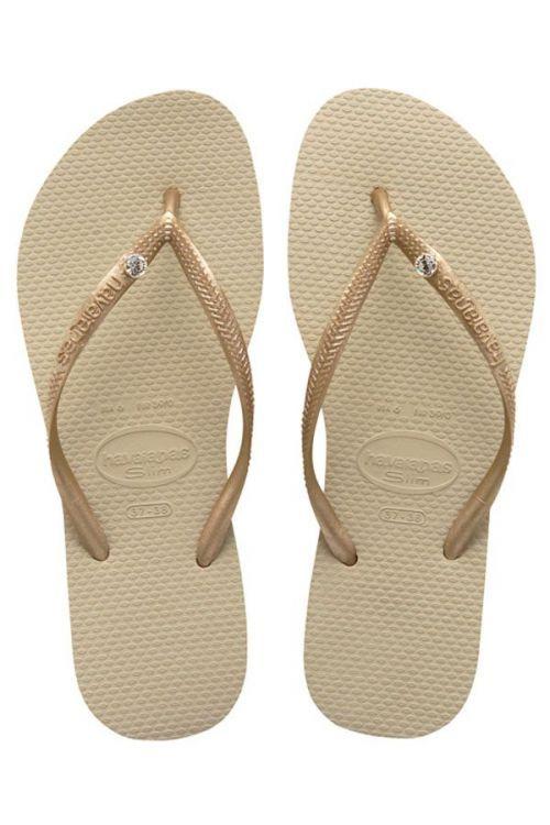 HAVAIANAS SANDALS SLIM CR SWAROVSKI - Sand Grey/Light Golden
