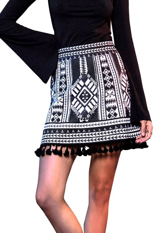 PEACE AND CHAOS CARMEN SKIRT - Μαύρο