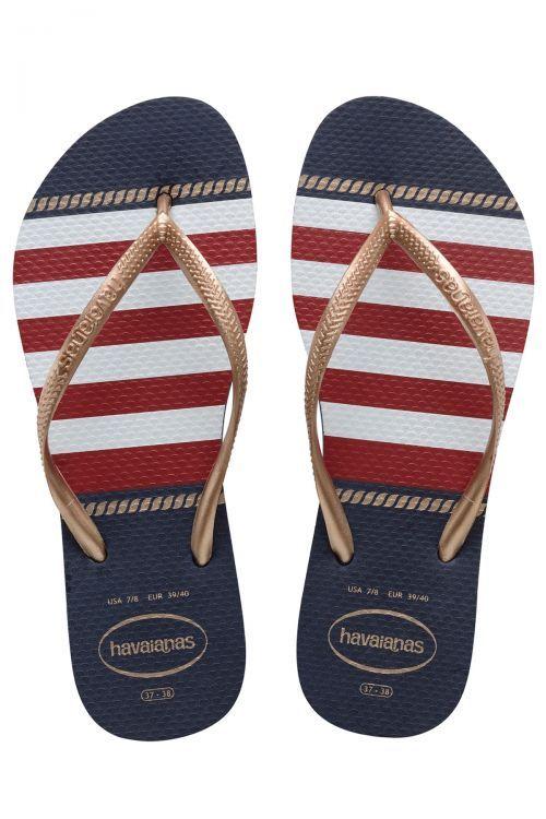 HAVAIANAS SANDALS SLIM NAUTICAL - Navy Blue