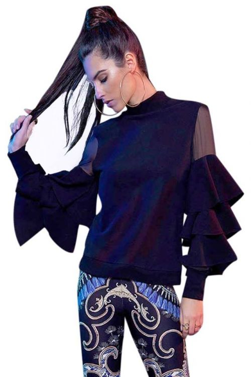 PEACE AND CHAOS LAYER SLEEVE TOP - Μαύρο