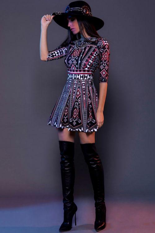 PEACE AND CHAOS FOLK LOVE DRESS - Μαύρο