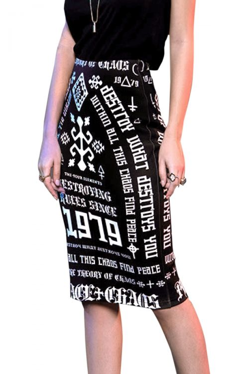 PEACE AND CHAOS DESTROY PENCIL SKIRT - Μαύρο