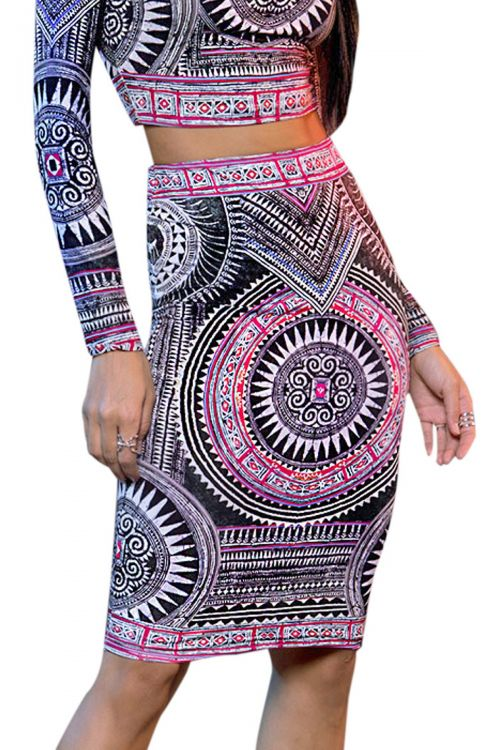 PEACE AND CHAOS ANCIENT TEMPLES PENCIL SKIRT - Τύπος