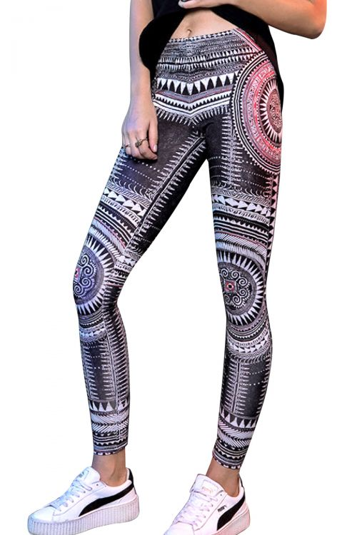 PEACE AND CHAOS ANCIENT TEMPLES LEGGINGS - Μαύρο